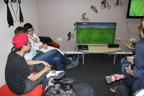A level students playing FIFA